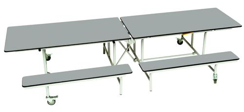 Rectangular Mobile Folding Bench Unit - Dove Top/Dove Bench - 735mm height