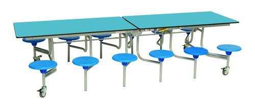 Twelve Seat Rectangular Mobile Folding Table - Azure Top/Blue Stools - 685mm height