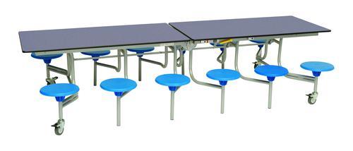 Twelve Seat Rectangular Mobile Folding Table - Blue Top/Blue Stools - 685mm height