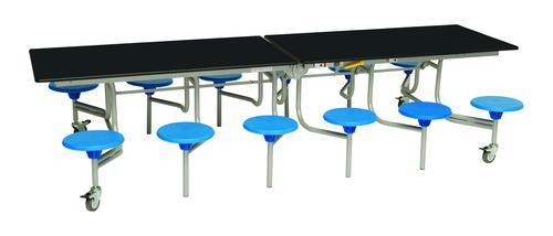 Twelve Seat Rectangular Mobile Folding Table - Black Top/Blue Stools - 685mm height