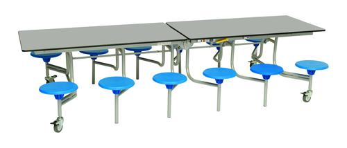 Twelve Seat Rectangular Mobile Folding Table - Dove Top/Blue Stools - 685mm height