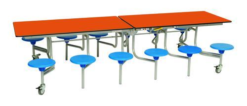Twelve Seat Rectangular Mobile Folding Table - Orange Top/Blue Stools - 685mm height