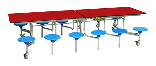 Twelve Seat Rectangular Mobile Folding Table - Red Top/Blue Stools - 685mm height