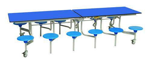 Twelve Seat Rectangular Mobile Folding Table - Royal Top/Blue Stools - 685mm height