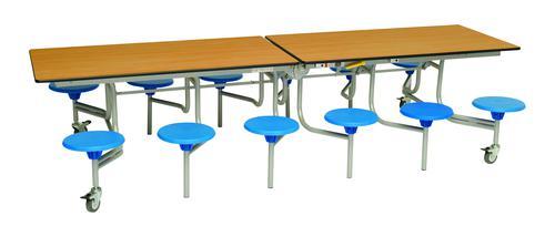Twelve Seat Rectangular Mobile Folding Table - Beech Top/Blue Stools - 735mm height