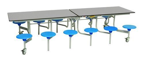 Twelve Seat Rectangular Mobile Folding Table - Grey Fleck Top/Blue Stools - 735mm height