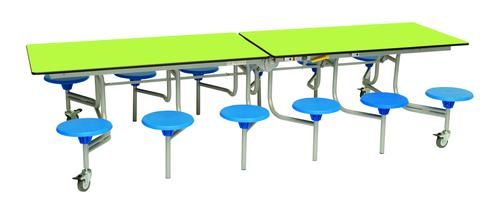 Twelve Seat Rectangular Mobile Folding Table - Lime Top/Blue Stools - 735mm height