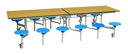 Twelve Seat Rectangular Mobile Folding Table - Oak Top/Blue Stools - 735mm height