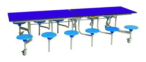 Twelve Seat Rectangular Mobile Folding Table - Purple Top/Blue Stools - 735mm height