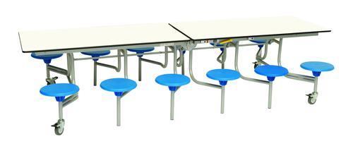 Twelve Seat Rectangular Mobile Folding Table - White Top/Blue Stools - 735mm height