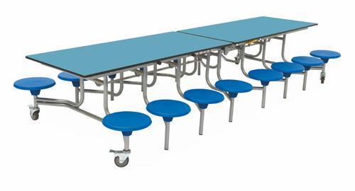 Sixteen Seat Rectangular Mobile Folding Table - Azure Top/Blue Stools - 650mm height