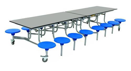 Sixteen Seat Rectangular Mobile Folding Table - Dove Top/Blue Stools - 650mm height