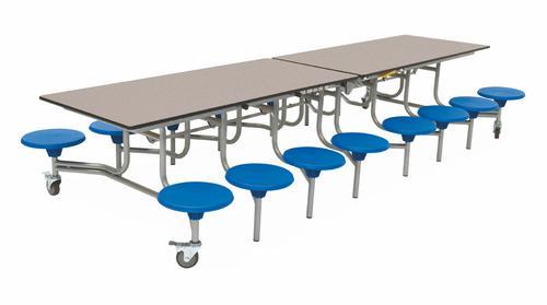 Sixteen Seat Rectangular Mobile Folding Table - Grey Fleck Top/Blue Stools - 650mm height