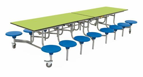 Sixteen Seat Rectangular Mobile Folding Table - Lime Top/Blue Stools - 650mm height