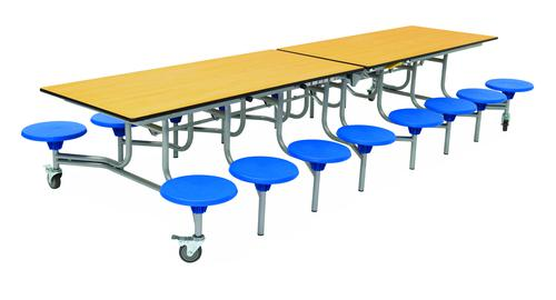 Sixteen Seat Rectangular Mobile Folding Table - Maple Top/Blue Stools - 650mm height