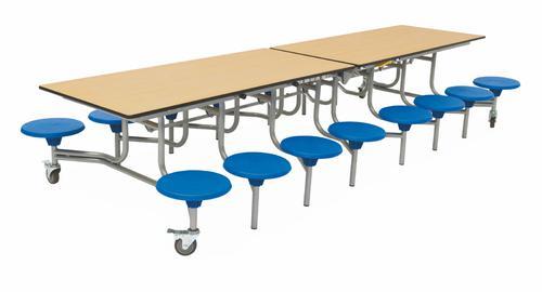 Sixteen Seat Rectangular Mobile Folding Table - Oak Top/Blue Stools - 650mm height
