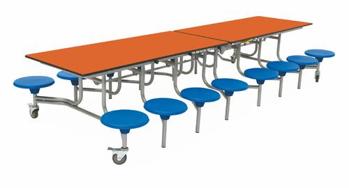 Sixteen Seat Rectangular Mobile Folding Table - Orange Top/Blue Stools - 650mm height