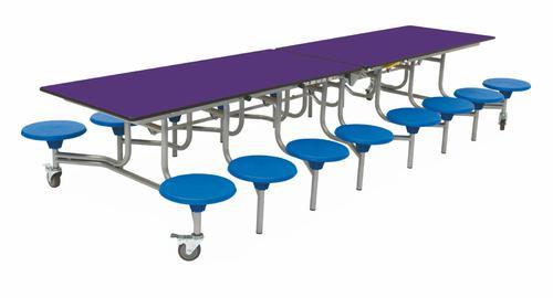 Sixteen Seat Rectangular Mobile Folding Table - Purple Top/Blue Stools - 650mm height