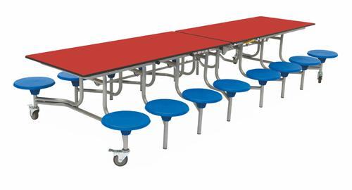 Sixteen Seat Rectangular Mobile Folding Table - Red Top/Blue Stools - 650mm height
