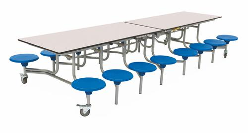 Sixteen Seat Rectangular Mobile Folding Table - White Top/Blue Stools - 650mm height