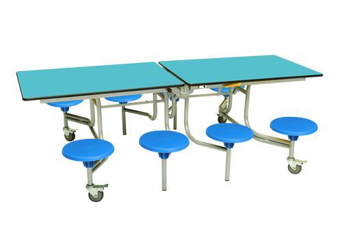 Eight Seat Rectangular Mobile Folding Table - Azure Top/Blue Stools - 735mm height