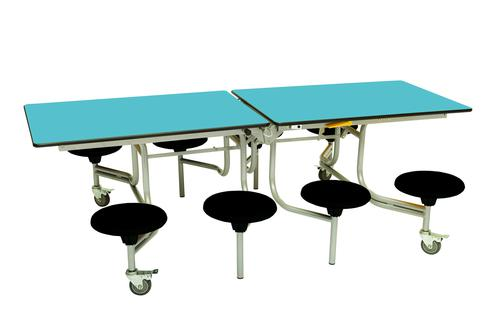 Eight Seat Rectangular Mobile Folding Table - Azure Top/Black Stools - 685mm height