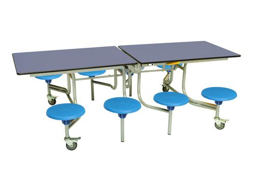 Eight Seat Rectangular Mobile Folding Table - Blue Top/Blue Stools - 685mm height