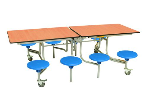 Eight Seat Rectangular Mobile Folding Table - Beech Top/Blue Stools - 685mm height