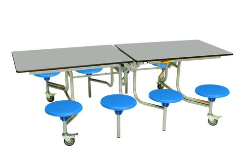 Eight Seat Rectangular Mobile Folding Table - Dove Top/Blue Stools - 685mm height