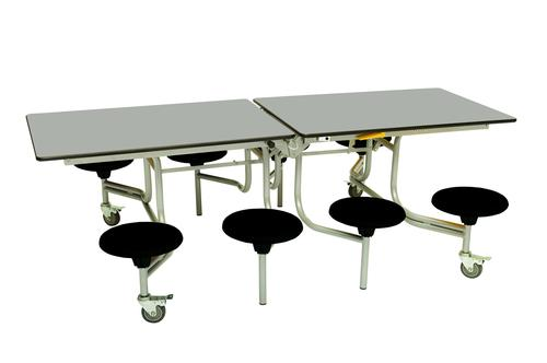 Eight Seat Rectangular Mobile Folding Table - Dove Top/Black Stools - 685mm height