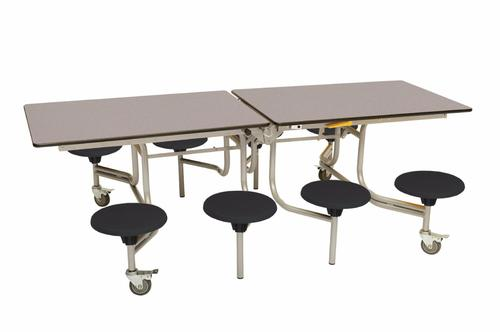 Eight Seat Rectangular Mobile Folding Table - Grey Fleck Top/Black Stools - 685mm height