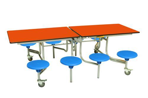 Eight Seat Rectangular Mobile Folding Table - Orange Top/Blue Stools - 685mm height