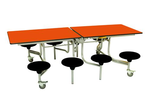 Eight Seat Rectangular Mobile Folding Table - Orange Top/Black Stools - 685mm height