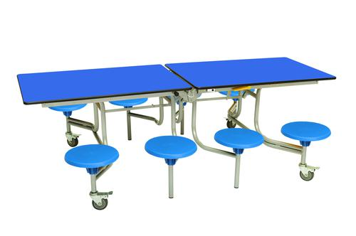 Eight Seat Rectangular Mobile Folding Table - Royal Top/Blue Stools - 685mm height