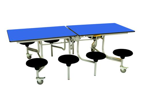 Eight Seat Rectangular Mobile Folding Table - Royal Top/Black Stools - 685mm height