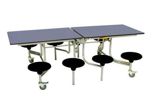 Eight Seat Rectangular Mobile Folding Table - Blue Top/Black Stools - 735mm height