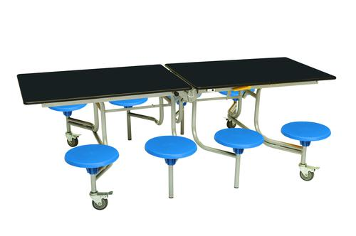 Eight Seat Rectangular Mobile Folding Table - Black Top/Blue Stools - 735mm height