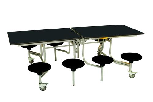 Eight Seat Rectangular Mobile Folding Table - Black Top/Black Stools - 735mm height