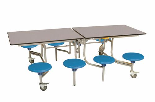 Eight Seat Rectangular Mobile Folding Table - Grey Fleck Top/Blue Stools - 735mm height