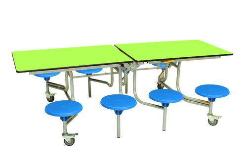 Eight Seat Rectangular Mobile Folding Table - Lime Top/Blue Stools - 735mm height