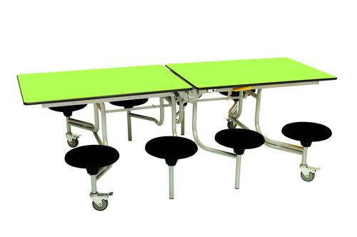Eight Seat Rectangular Mobile Folding Table - Lime Top/Black Stools - 735mm height