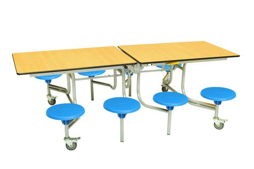 Eight Seat Rectangular Mobile Folding Table - Maple Top/Blue Stools - 735mm height