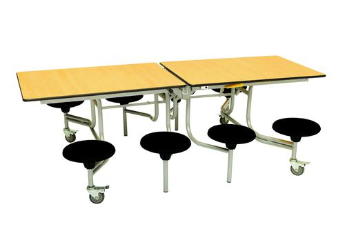 Eight Seat Rectangular Mobile Folding Table - Maple Top/Black Stools - 735mm height