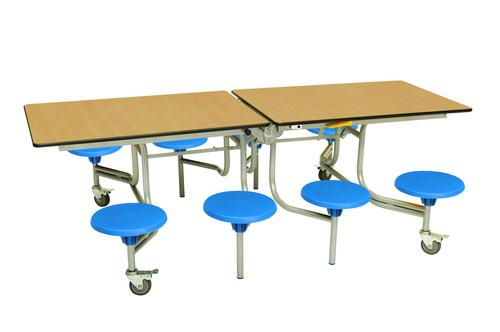 Eight Seat Rectangular Mobile Folding Table - Oak Top/Blue Stools - 735mm height
