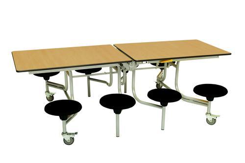 Eight Seat Rectangular Mobile Folding Table - Oak Top/Black Stools - 735mm height