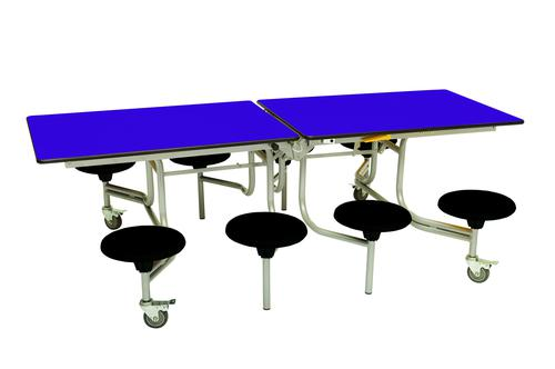 Eight Seat Rectangular Mobile Folding Table - Purple Top/Black Stools - 735mm height