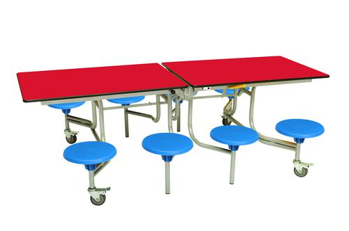 Eight Seat Rectangular Mobile Folding Table - Red Top/Blue Stools - 735mm height