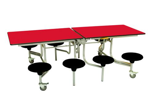 Eight Seat Rectangular Mobile Folding Table - Red Top/Black Stools - 735mm height