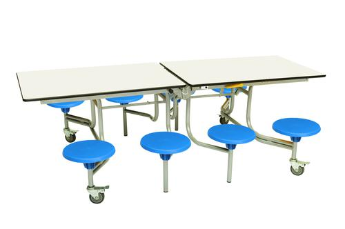 Eight Seat Rectangular Mobile Folding Table - White Top/Blue Stools - 735mm height