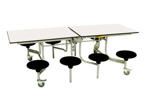 Eight Seat Rectangular Mobile Folding Table - White Top/Black Stools - 735mm height